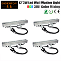 TIPTOP 4XLOT DMX Control 50W RGB LED Flood Lights 12 x 3W 3IN1 Color Changing Ourdoor LED Bar Light Waterproof LED Floodlight