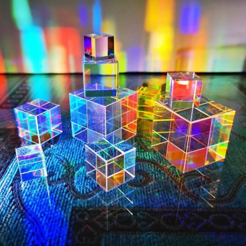 Size S RGB Prism Glass Optical Glass Prism Cube Colorful  Defective Combiner Splitter Cross Dichroic Cube