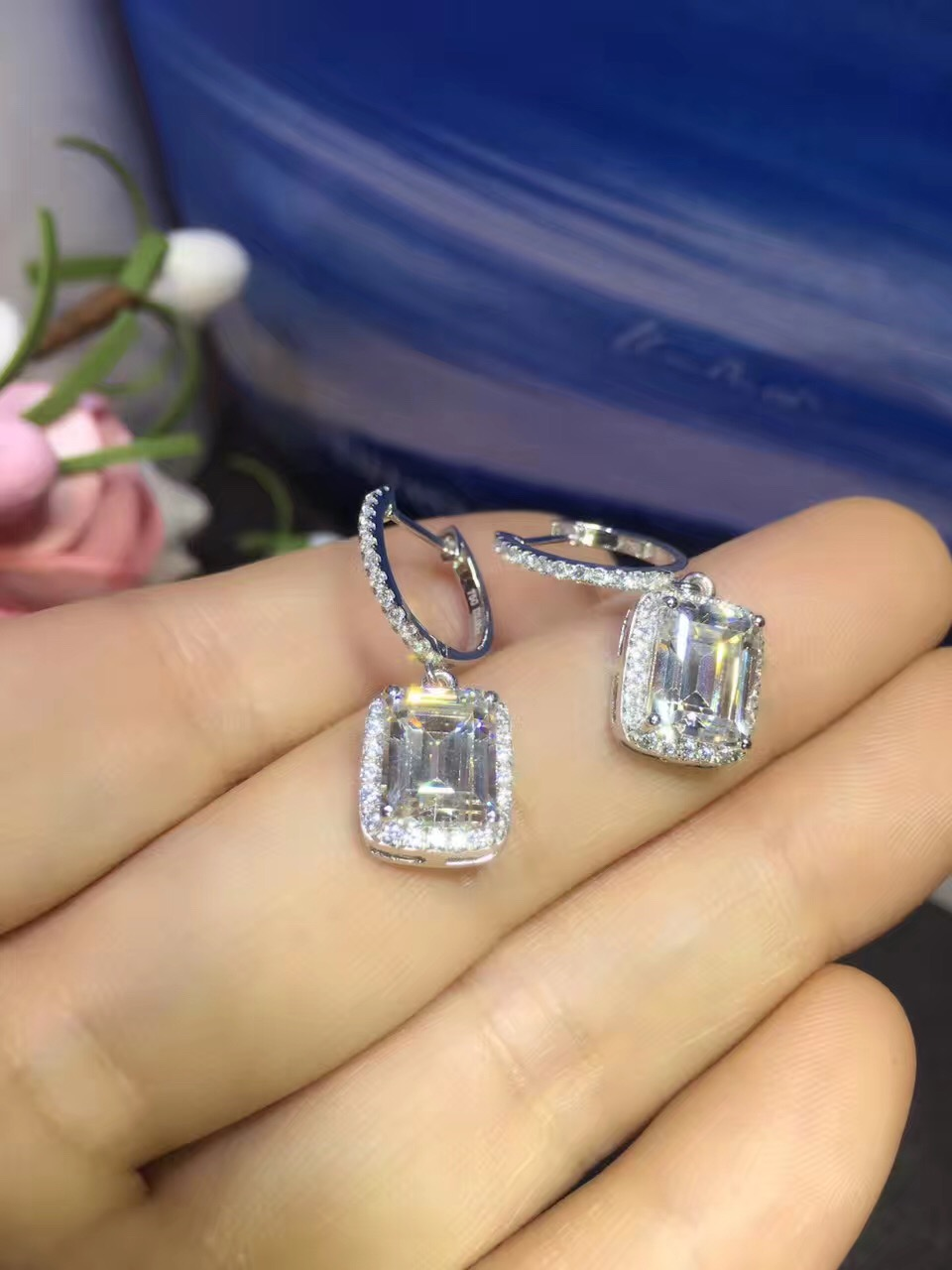 Luxury 2 Carats SONA Synthetic Gem Halo Studded Wedding Earrings, Promise Propose Earring,