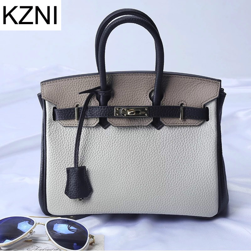 KZNI genuine leather bags handbags women famous brands fashion ladies hand bags
