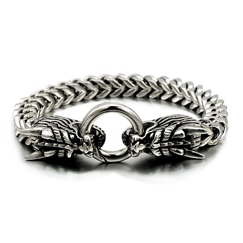 NIENDO Hot Selling Silver Color Double Oriental Dragon Animal Bracelet Memorial Gift Men Stainless Steel Jewelry DB970