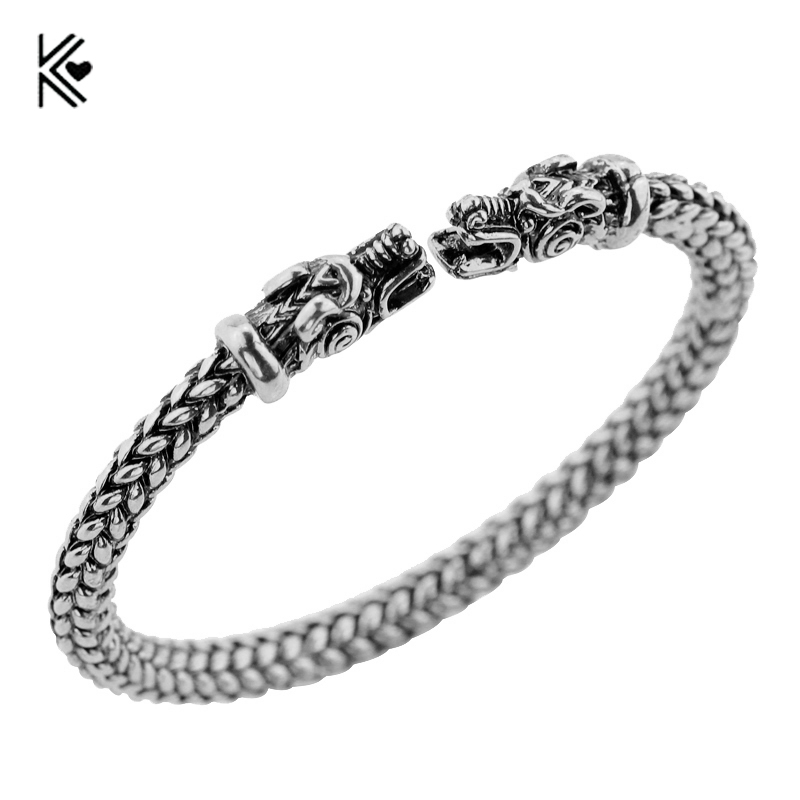 Jewelry & Accessories Handmade Top Quality Fenrir Pengan Wolves Norse Viking Wolf Bangles Bracelets 2 Color Antique Open Bracelet Bracelets & Bangles