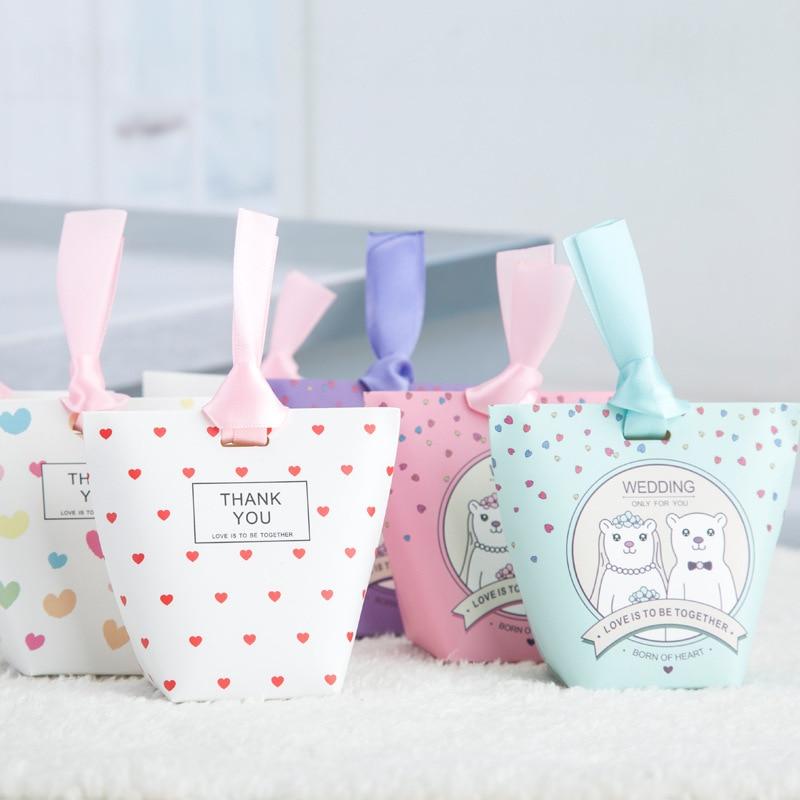 50pcs/lot Square Bottom Gift Packs, Bear Love Mini Candy Boxes Wedding Favors , Birthday Gift Box, Christmas Gift Box Package