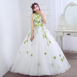 Image 5 - 980es De Quinceaneras 2021 nouveau col haut sans manches longues robes De Quinceanera fleur grande taille fermeture éclair sur mesure robe De bal L