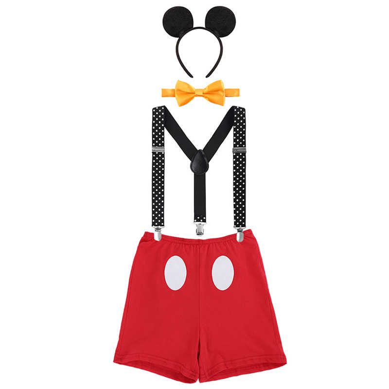 Cute Baby Cake Smash Outfit Mickey Mouse Cosplay Costumes for Boy and Girls Birthday Party Photography Prop Unisex Baby Clothes