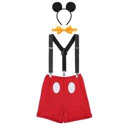 Милый детский костюм для Cake Smash Микки Мышь Костюмы для косплея для мальчиков и девочек День рождения Опора детская одежда унисекс