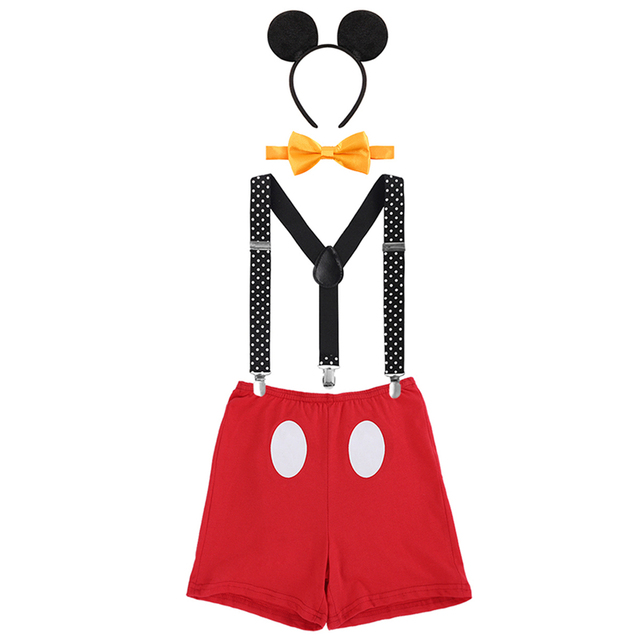 4pcs Set Baby Boy Girl Mickey Mouse Cake Smash Outfits 1st Birthday Party Suspender Pants Headband