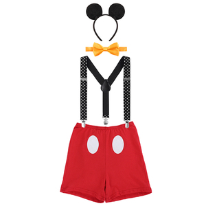 Cute Baby Cake Smash Outfit Mickey Mouse Cosplay Costumes for Boy and Girls Birthday Party Photography Prop Unisex Baby Clothes(China)