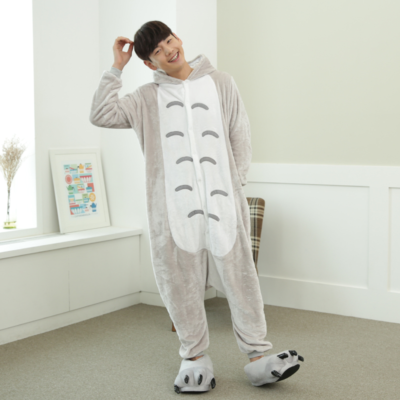 Funny Cartoon Totoro Onesies For Adults Large Size Flannel Cat Pajamas Kigurumi For Halloween Cosplay Parties Overall Bodysuit