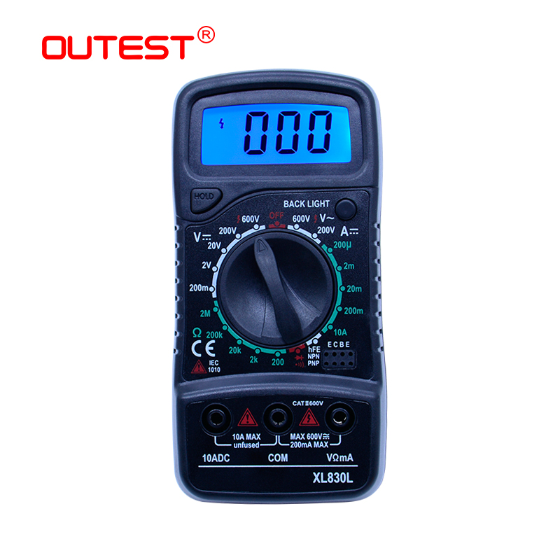 OUTEST Digital Multimeter XL830L Portable Ammeter Voltmeter Resistance Tester Multimeter Mini Blue Backlight