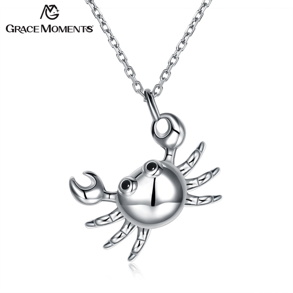 Grace Moments Cute Crab 925 Sterling Silver Necklaces Animals Pendant Necklaces Women Party Necklaces Jewelry