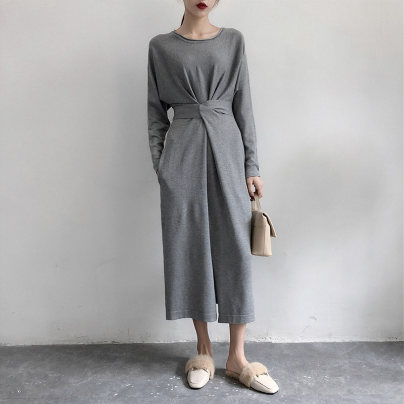 Women's Long Sleeve Split Knitted A-line Midi Dress High Waist Bowtie Bandage Lace Up Female Dresses 2019 Spring O-Neck Clothes 2