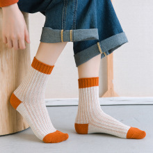 Winter new womens warmth high quality color matching stripes fashion casual high-grade cotton socks