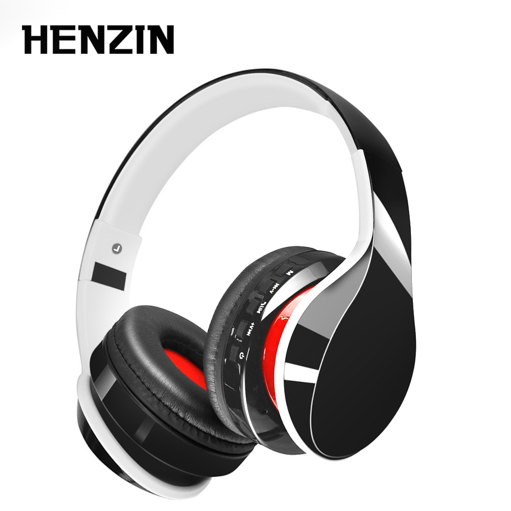 HENZIN Foldable Bluetooth Headset HIFI Stereo Wireless Headphone with Mic Support Mp3 FM Radio TF Aux Handsfree for Smartphones