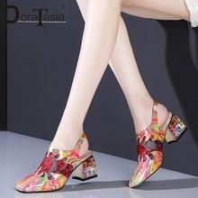 Daratasia Baru Ukuran Besar 34-41 Wanita Sepatu Hak Tinggi Paten Kulit Asli Kristal Cetak Sepatu Wanita Kasual Pesta Musim Panas sandal