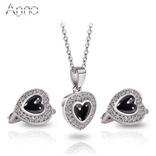 A&N Fashion Ceramic Jewelry Set Solid Silver Heart Stainless Steel Necklaces & Earrings Luxury Design Party Wedding Jewelry Set
