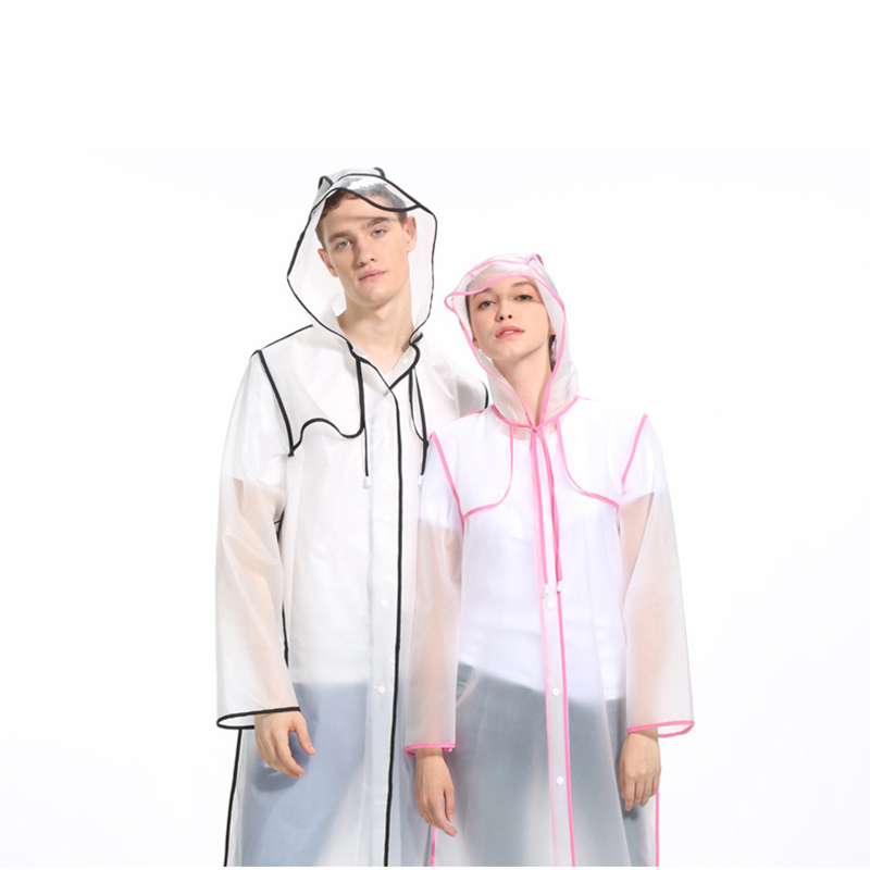 Lovers Transparent Raincoat Fashion Women Rainwear EVA Couple Raincoats Men Long Rain Coat Adult Hiking Rain Poncho Portable