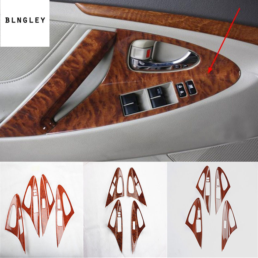 Free shipping 4pcs/lot ABS wooden grain car window lift panel decoration cover for 2006-2011 Toyota camry MK6 car accessories kadore toyota 2011 5dr abs