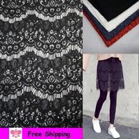 New Lace Base Fabric Skirt Pants Stitching Lace Fabric Mesh Embroidery Eyelashes Lace Wine Red Navy