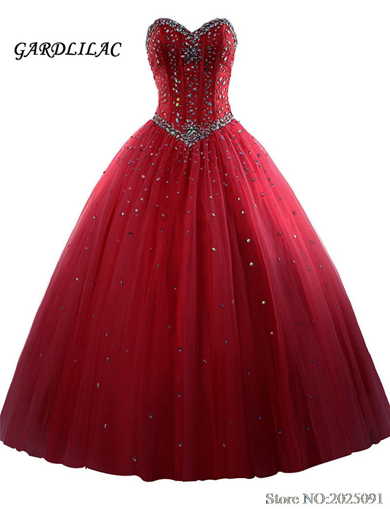 New Royal Blue Quinceanera Dresses Tulle Crystal Beads Debutante Red Ball Gown Prom Dresses vestido de