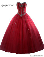 New Royal Blue Quinceanera Dresses Tulle Crystal Beads Debutante Red Ball Gown Prom Dresses vestido de quinceanos