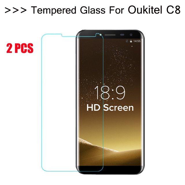 Galleria fotografica 5.5 inch Oukitel C8 Tempered Glass 100% Original Premium 9H 2.5D Screen Protector Film For C8 Phone Oukitel C8 4G 2gb 16gb 2PCS
