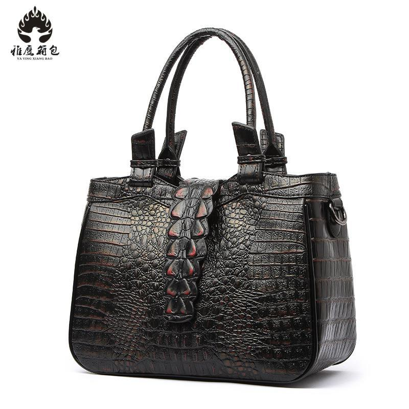 Women Brand Designer Crocodile Genuine Leather Handbags Luxury Shoulder Bag Female Large Tote Bags High Quality Bolas luxury handbags women bags designer red genuine leather tassel messenger bag fashion extra large casual tote zipper shoulder bag