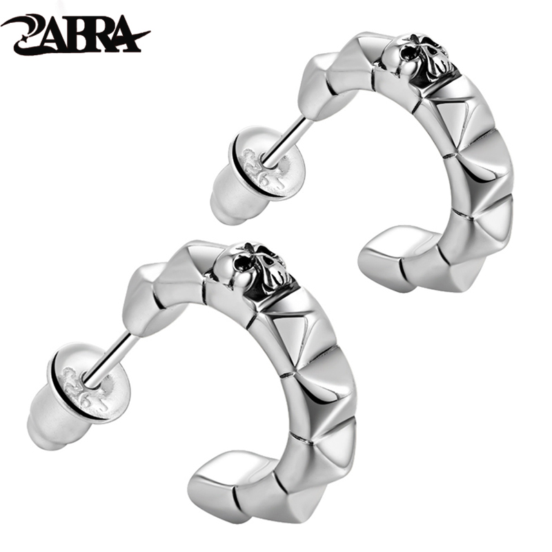 ZABRA Real 925 Silver Punk Skull Stud Mens Earrings Vintage Earring For Men Skeleton Biker Male Sterling Silver Jewelry 2017 zabra luxury 925 silver bracelets men vintage punk crown mens skull bracelet biker gothic sterling silver jewelry erkek bileklik