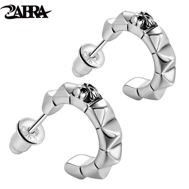 Zabra Real 925 Silver Punk Skull Stud Mens Earrings Vintage Earring For Men Skeleton Biker Male