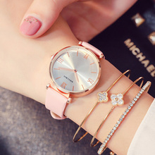 reloj mujer Exquisite Simple Women Quartz Watches Fashion Casual Pink Leather Strap Female Clock Luxury Rose Gold Case Watch Top mige real top brand luxury casual fashion ladies watches white leather rose gold case female clock quartz waterproof women watch