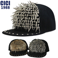 Fashion punk rivets hip hop style baseball caps rock Snapback caps for man and woman two colors  A 36