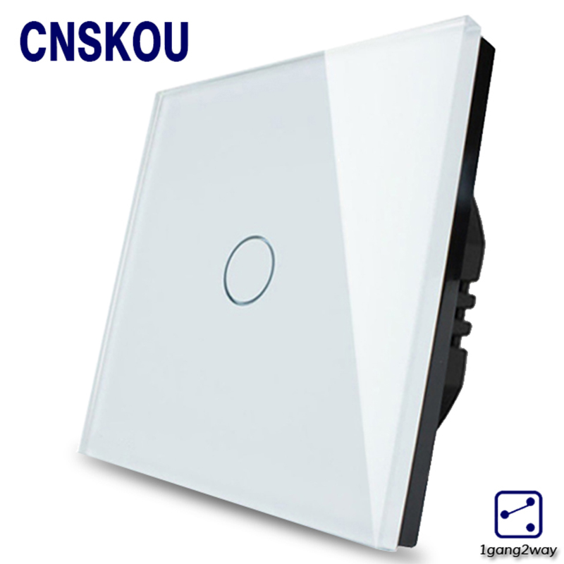 1Gang2Way EU Standard Light Touch Switches Crystal Glass Panel Wall Sensor Switch Smart Home Touch Sensitive Outlet Cnskou eu standard 2 gang 1 way touch switch crystal glass panel wall light switches smart home automation round type
