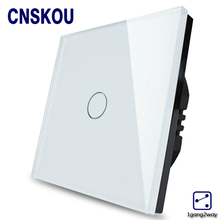 1Gang2Way EU Standard Light Touch Switches Crystal Glass Panel Wall Sensor Switch Smart Home Touch Sensitive Outlet Cnskou