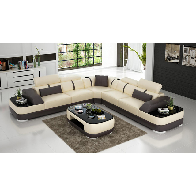 Latest Modern White Leather Office Sofa Set Living Room