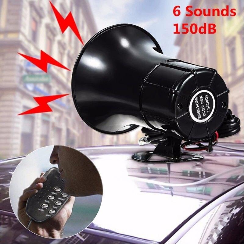 Black 100W 6 Sounds Loud Warning Car Alarms Police Fire Siren Horn PA Loud Speaker PP Plastic MIC Kit 150dB Volume Adjustabl ...