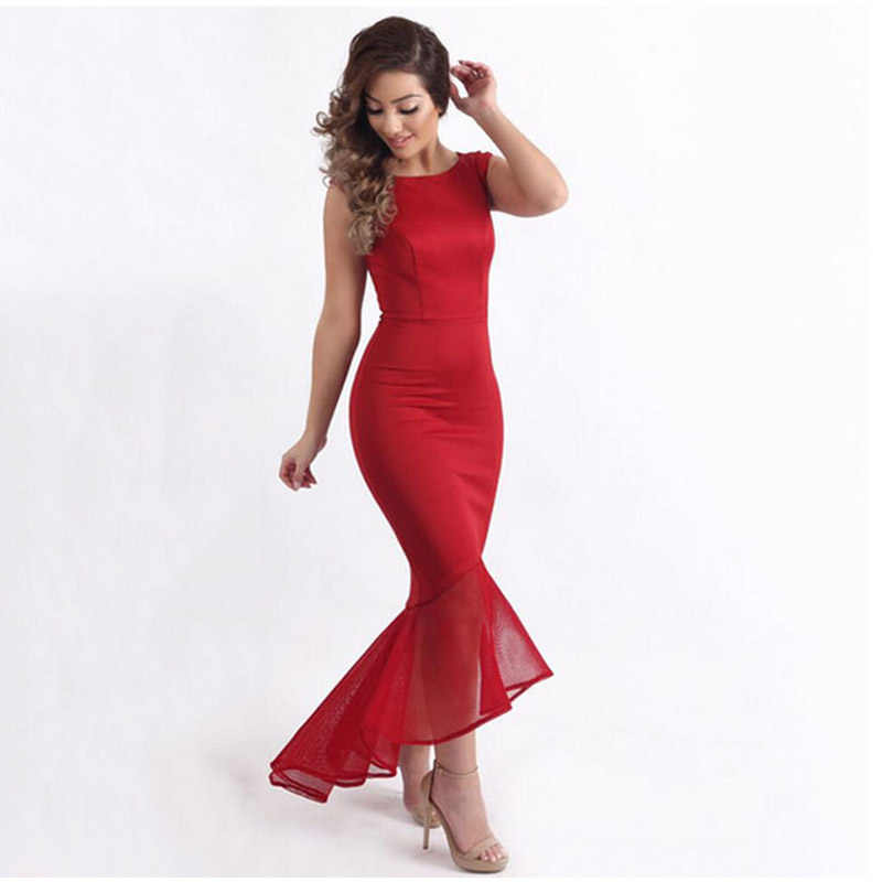 Women s Red Fish Tail Maxi Long Dress Sexy See Through Sleeveless  Ankle-Length Black Red 44c130a48e96