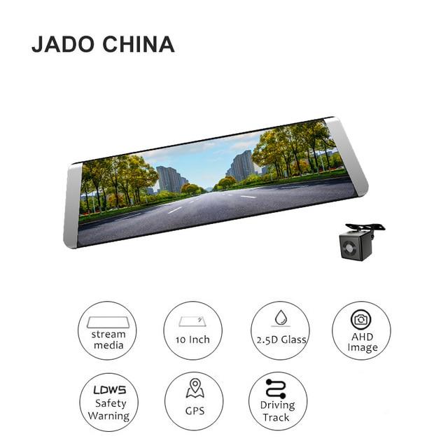 JADO D800 Паровое зеркало заднего вида для автомобилей Dvr GPS ADAS 10 'IPS Сенсорный экран HD 1296P / 1080P Автомобильный DVD-плеер 140 градусов Регистратор Dash cam