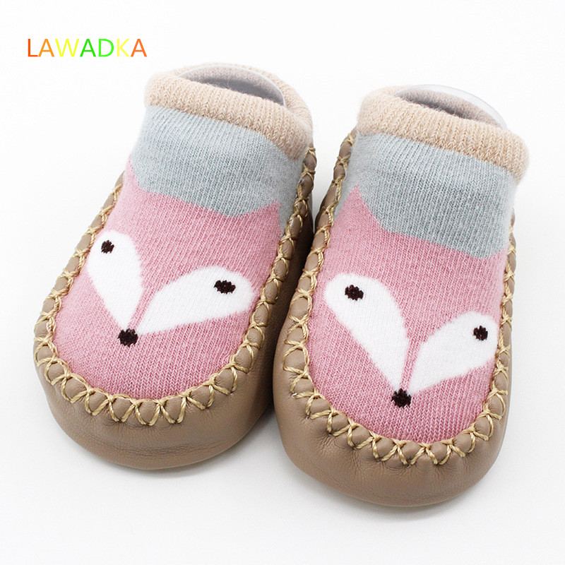 Lawadka Brand Newborn Cartoon Fox Baby Socks Toddler Socks Anti-skid Leather Bottom Baby Floor Socks