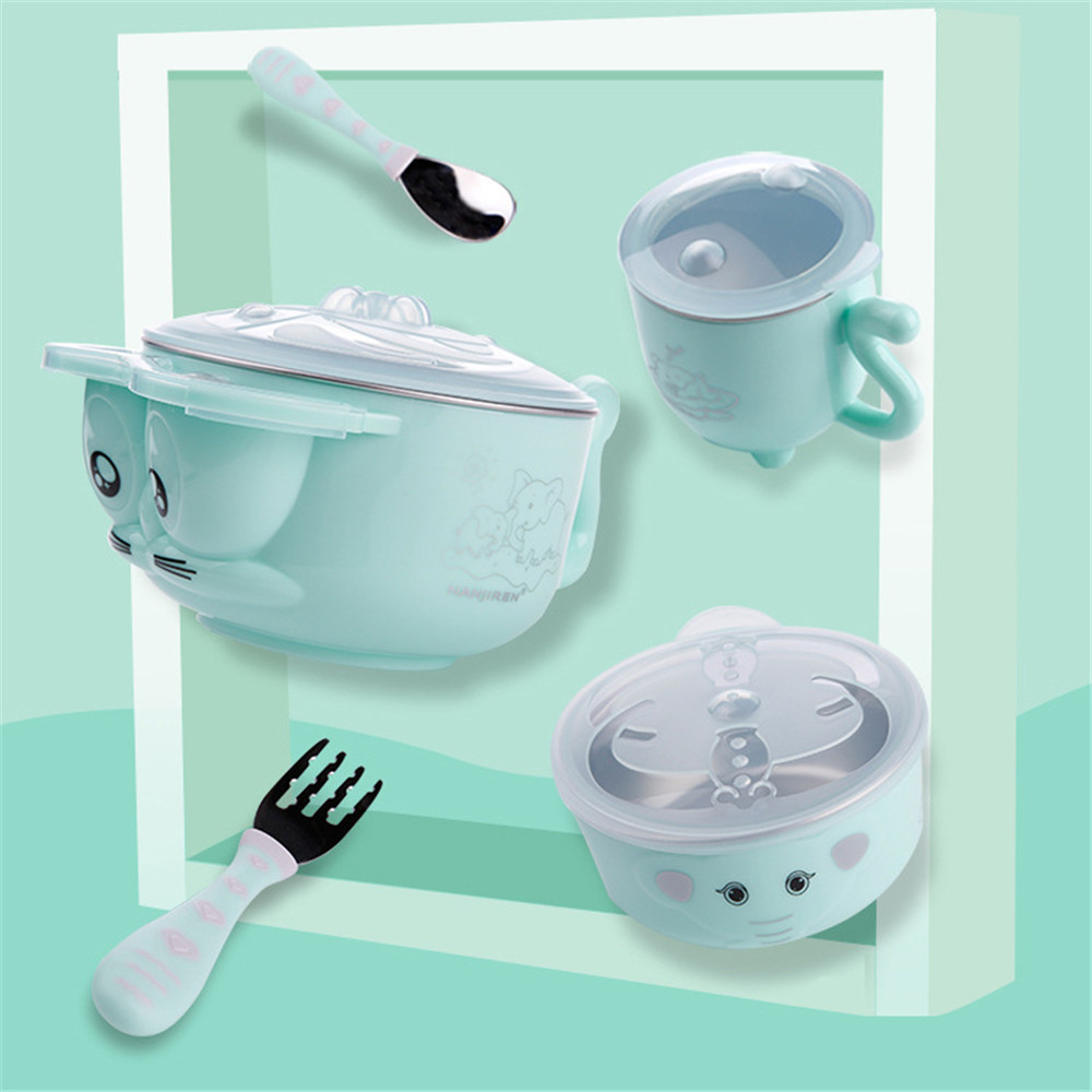 Baby Water Injection Insulation Baby Food Bowl Baby Stainless Steel Anti drop Suction Cup Bowl Spoon Set Children Tableware Dish in Dishes from Mother Kids