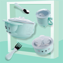 лучшая цена Baby Water Injection Insulation Baby Food Bowl Baby Stainless Steel Anti-drop Suction Cup Bowl Spoon Set Children Tableware Dish