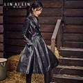 2017 Women's Leather Coat Long Section Of Sheep Skin Windbreaker Simple Slim Jacket Vintage Trench Coat