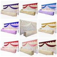 Ice Silk Wedding Backdrop Curtain Include Led Light Stage Background With Top Swag Drape Valance