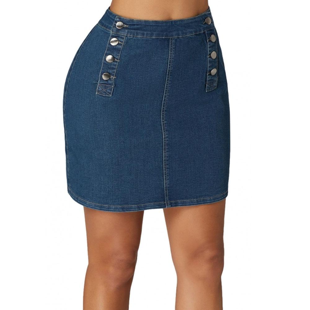 Doble Botón 5 Falda Lc65144 De Micro 2019 Jeans Breasted Azul Funcional txBZtqOP