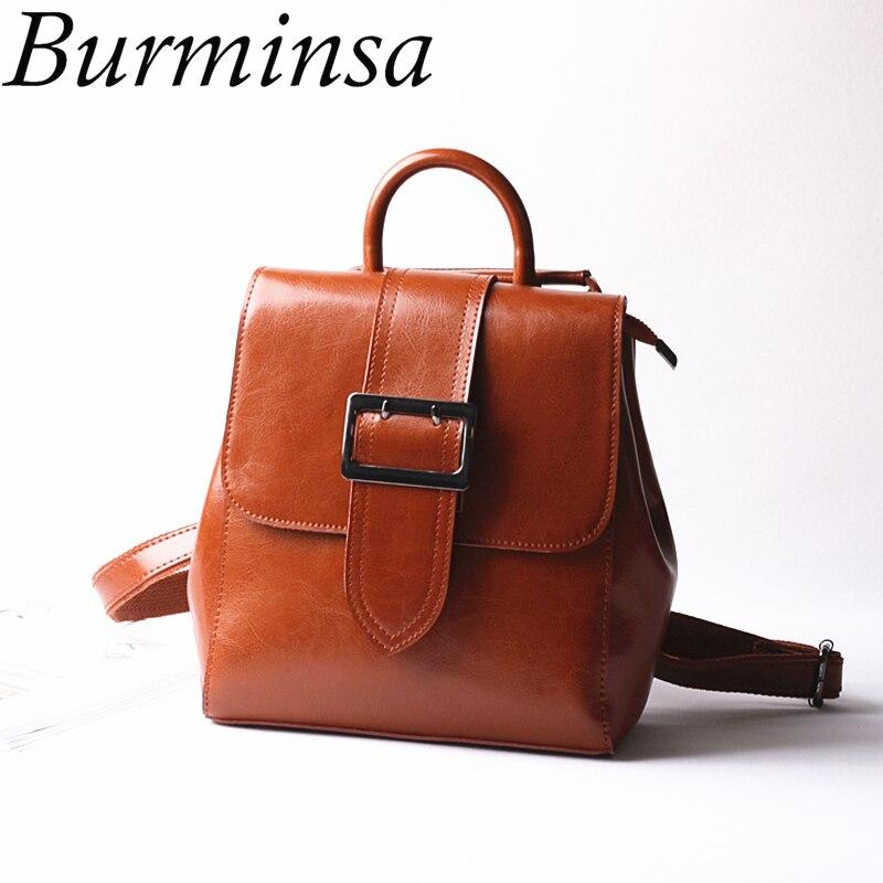 Burminsa Brand Winter Genuine Leather Backpack Vintage Oil Wax Leather Travel Backpack Designer Shoulder Bags For Teenage Girls