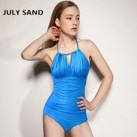 July Sand New One Piece Swimsuit For Women With Neck Tied Swimsuit And Pure Blue Color