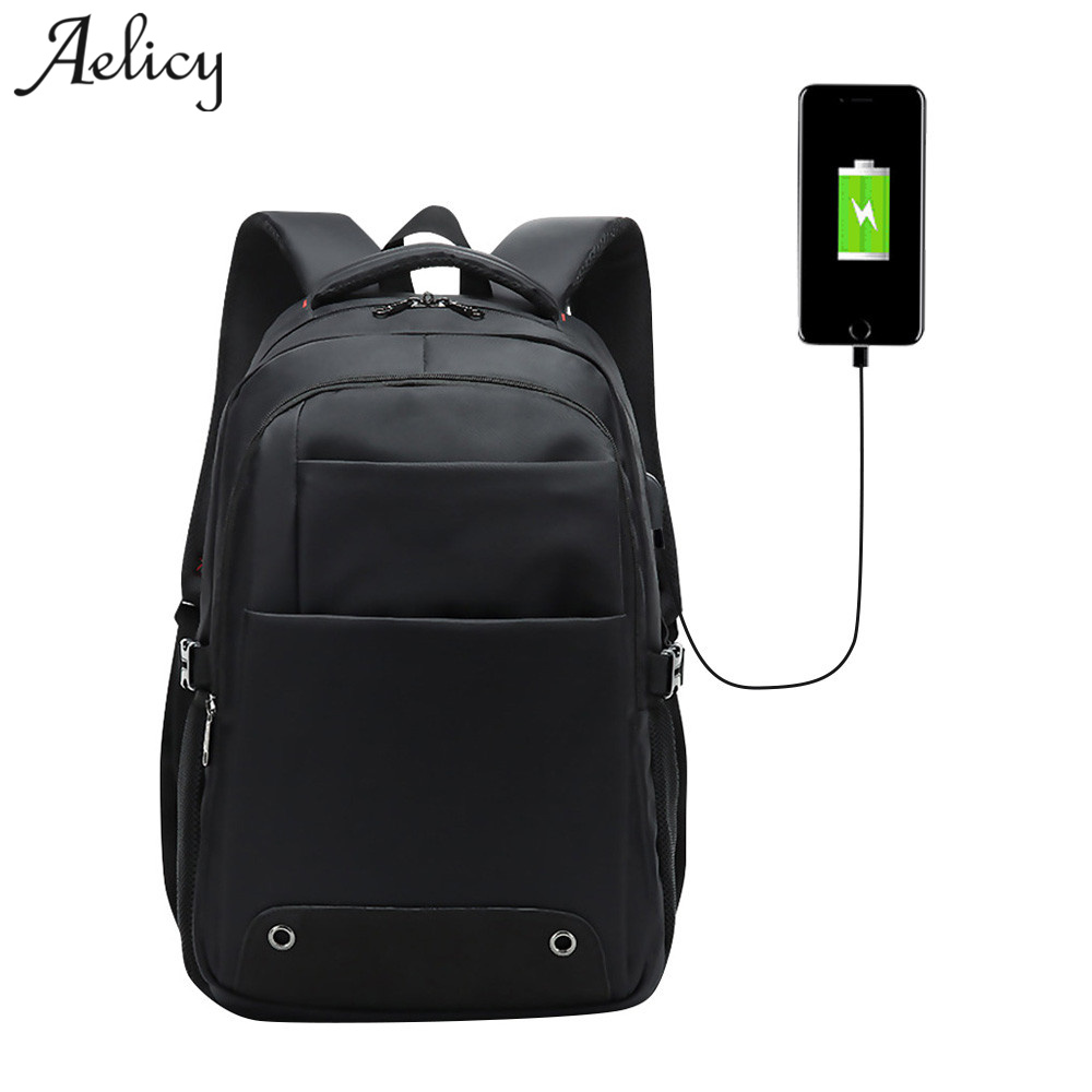 Aelicy High Quality Oxford Men Backpack Waterproof Laptop Men Women Fashion Travel Anti Theft USB Laptop Backpack Bag