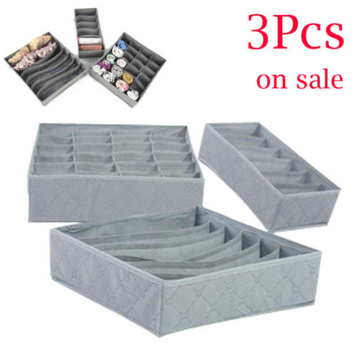 3pcs/set Foldable Drawer Organizers Storage Box Case For Bra Ties Underwear Socks Scarf Drawer Organizers Gray