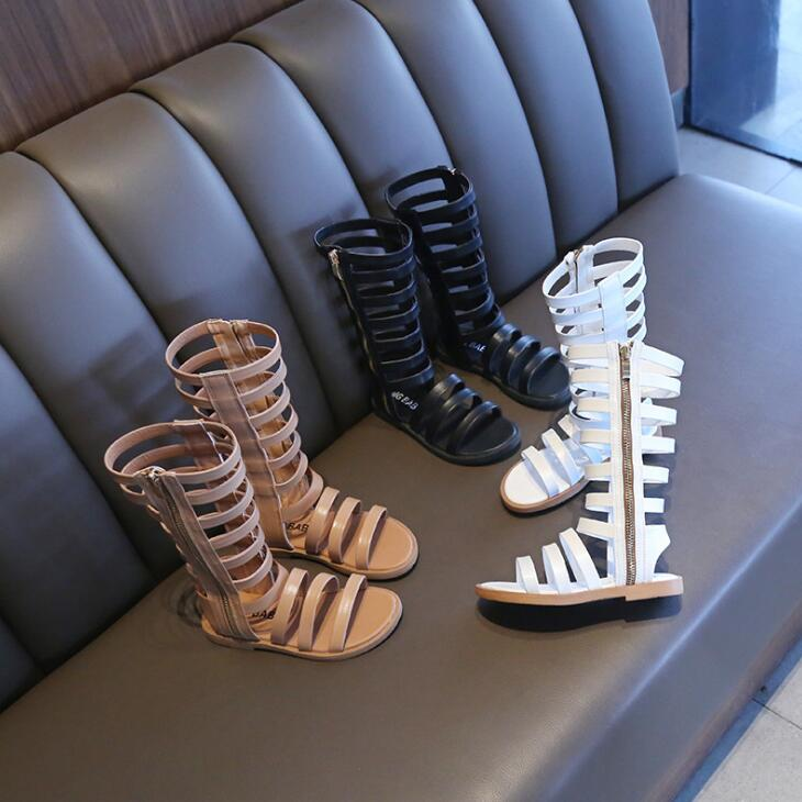 2019 New Summer Soft Leather Girls Gladiator Sandals With Zipper Children Fashion Beach Shoes Hollowing Out High Boots