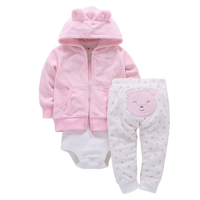 a8436b770e8e sweet baby girl 3pcs romper suit Terry cloth trousers hoodies outwear romper  underwear clothing set boutique babe clothes retail