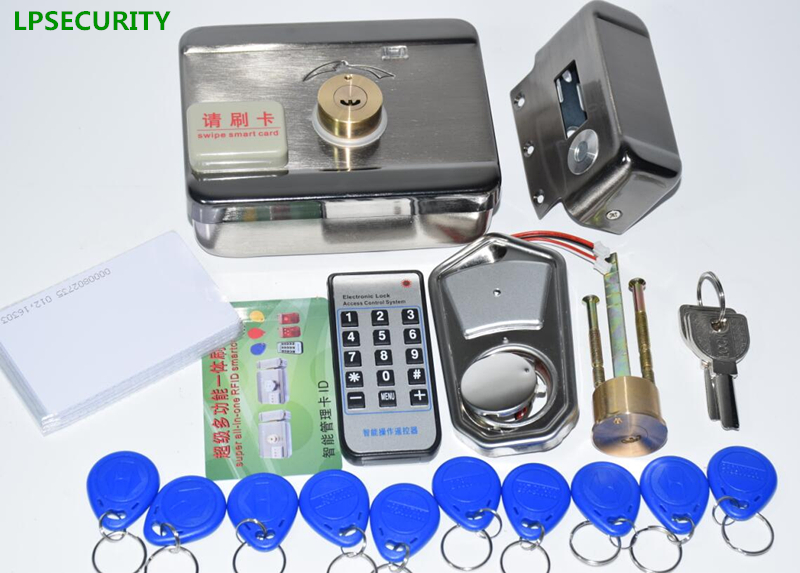 Image 4 - LPSECURITY 2 or 10 tags Door & gate lock castle Access Control Electronic integrated RFID Door Rim lock RFID reader for intercomrfid dooraccess controllock rfid -